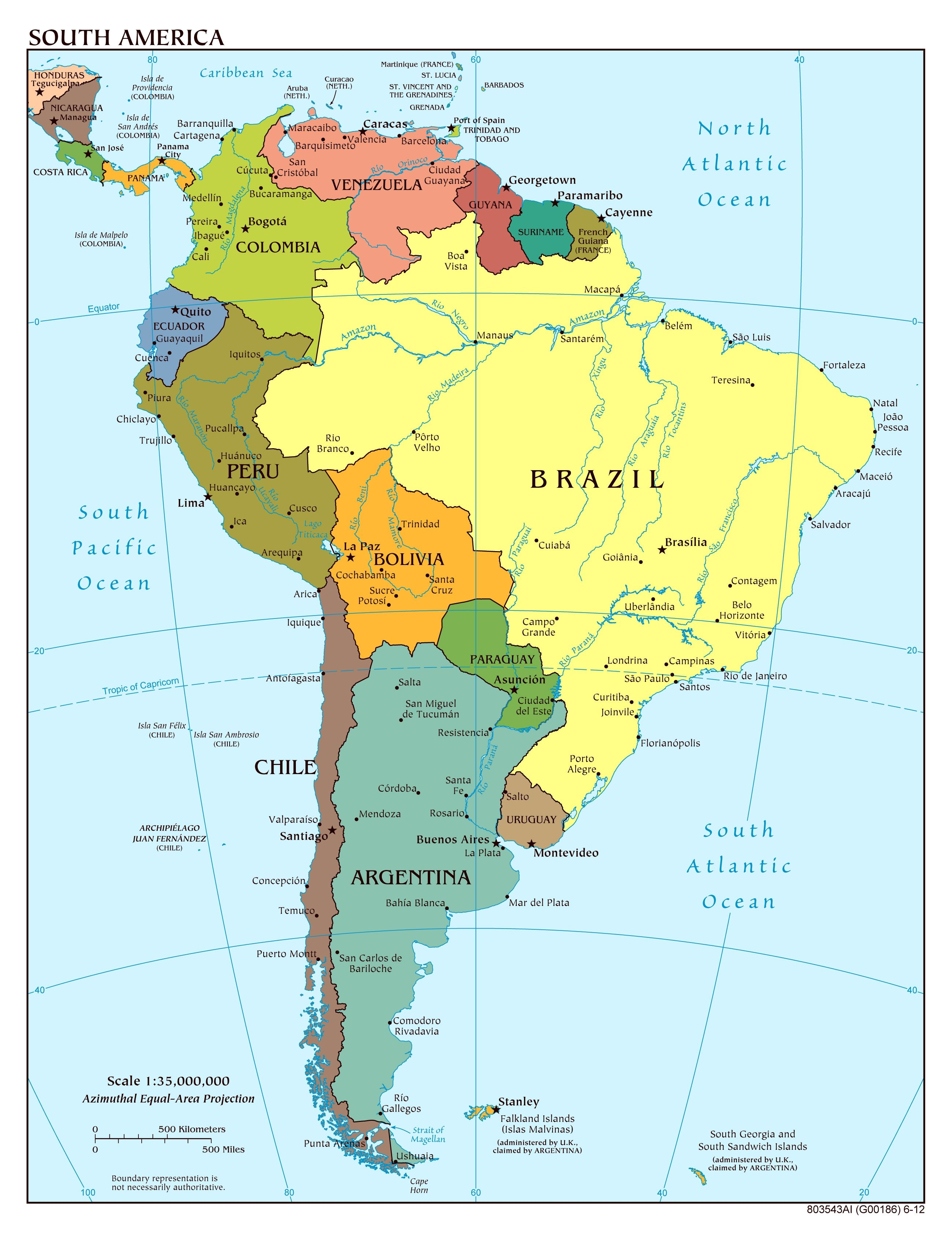 Specific South America States And Capitals Map Labels