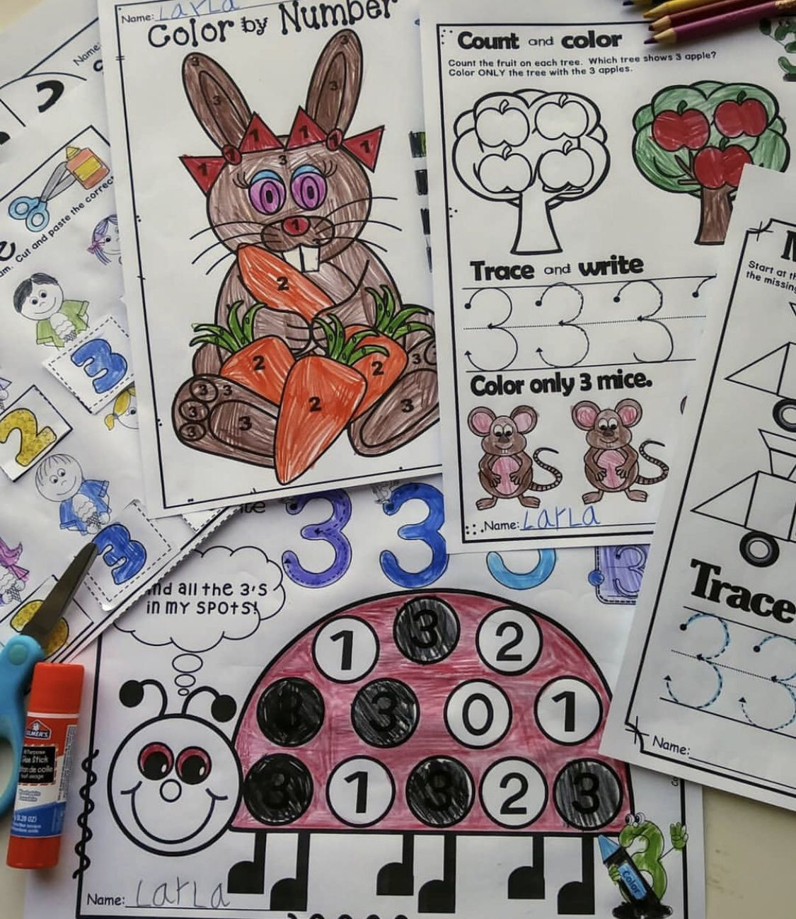Number 3 Math Worksheets No Prep Counting And Cardinality