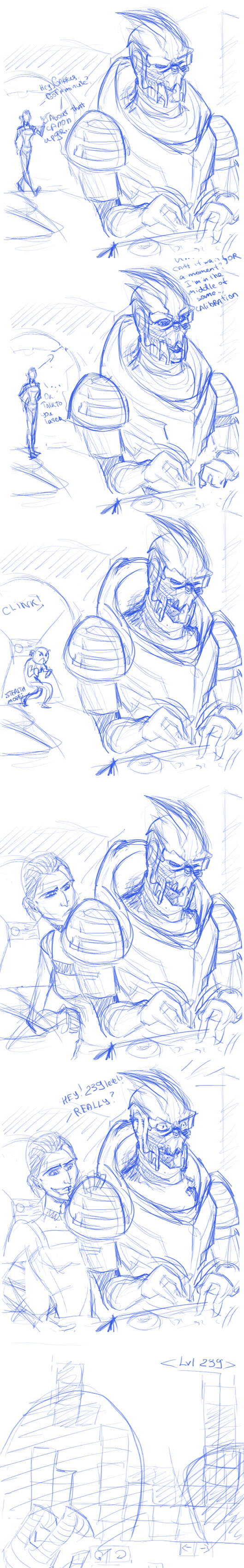 "One of the reasons why Garrus always in the middle of some ""calibrations"". Because nobody ever beat TETRIS"