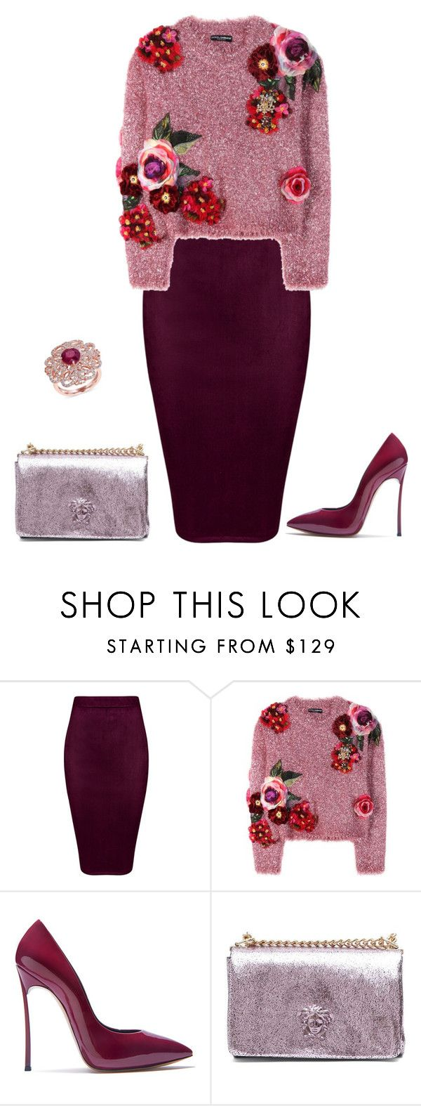 """""""outfit 5238"""" by natalyag ❤ liked on Polyvore featuring Dolce&Gabbana, Casadei, Versace and Effy Jewelry"""
