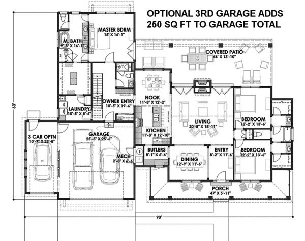 Country Style House Plan - 3 Beds 300 Baths 2593 Sq/Ft Plan #1069-3