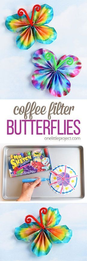 These classic coffee filter butterflies are SO EASY to make and look so beautiful! This is such a great summer craft idea for kids and a super fun activity for a rainy day! It's easy. It's relatively low mess. It's even a bit of a science experiment when