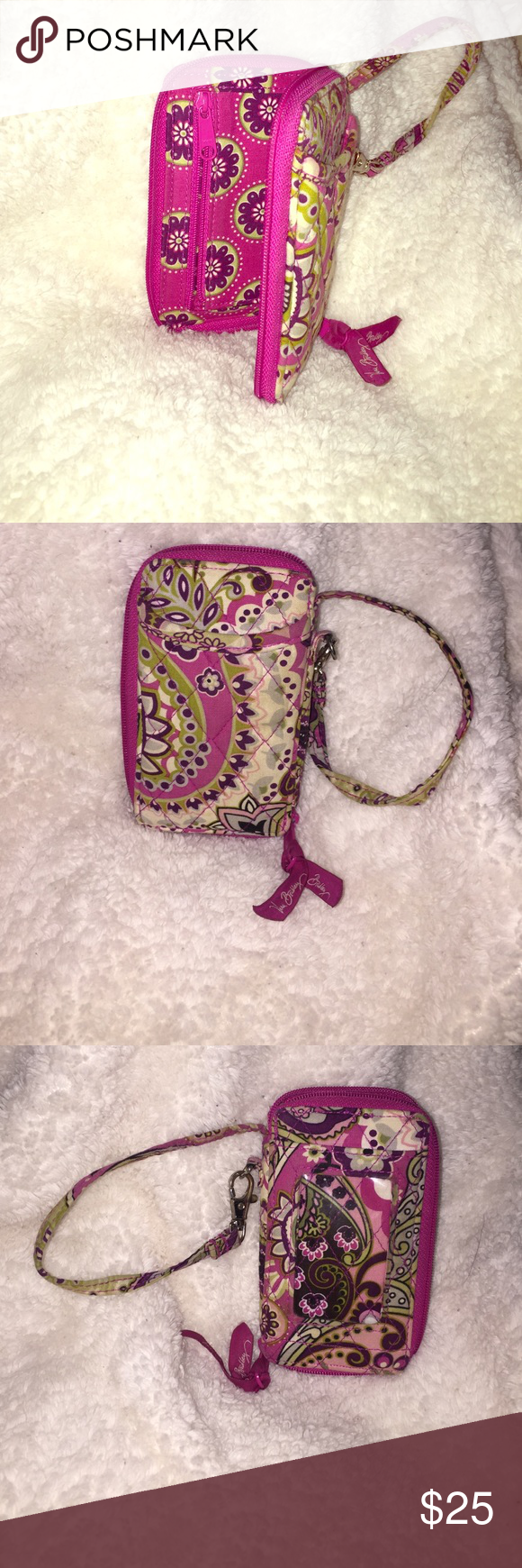 Vera Bradley zippered/key chain wallet/wristlet pink floral print, wristlet wallet. holds cards, cash, any type of smaller phones. Vera Bradley Bags Clutches & Wristlets