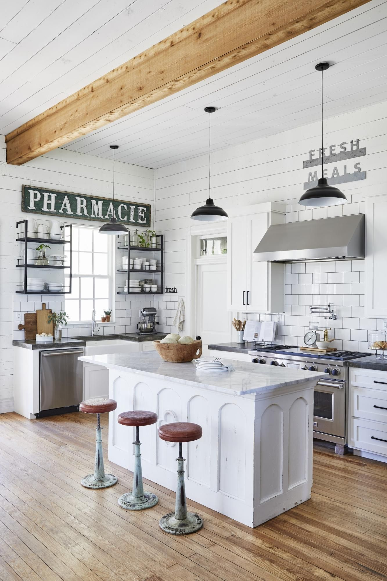 A Technical Guide To Open Shelving Magnolia In 2020 Joanna Gaines Kitchen Kitchen Style Modern Farmhouse Kitchens