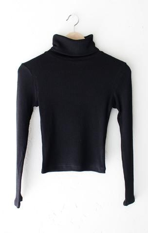 6bf7f7f1a NYCT Clothing Ribbed Knit Turtleneck Crop Top - Black | Fashion ...