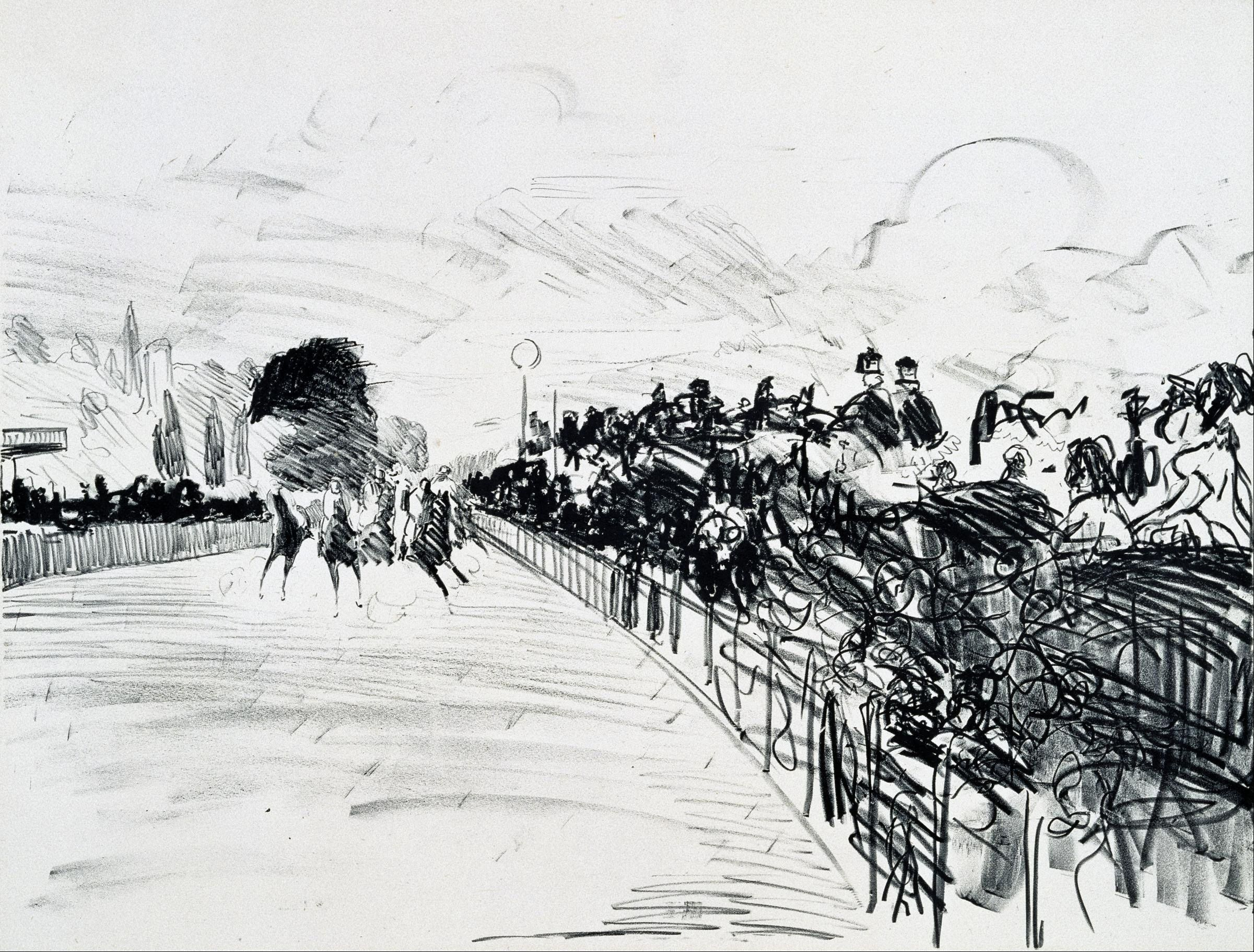 edouard manet the races at longchamp sketch - 1865 drawing movement developed around this time