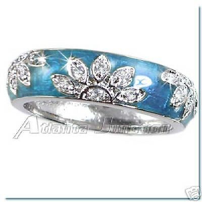 TURQUOISE-ENAMEL-FLORAL-CZ-BAND-RINGS-SZ-8