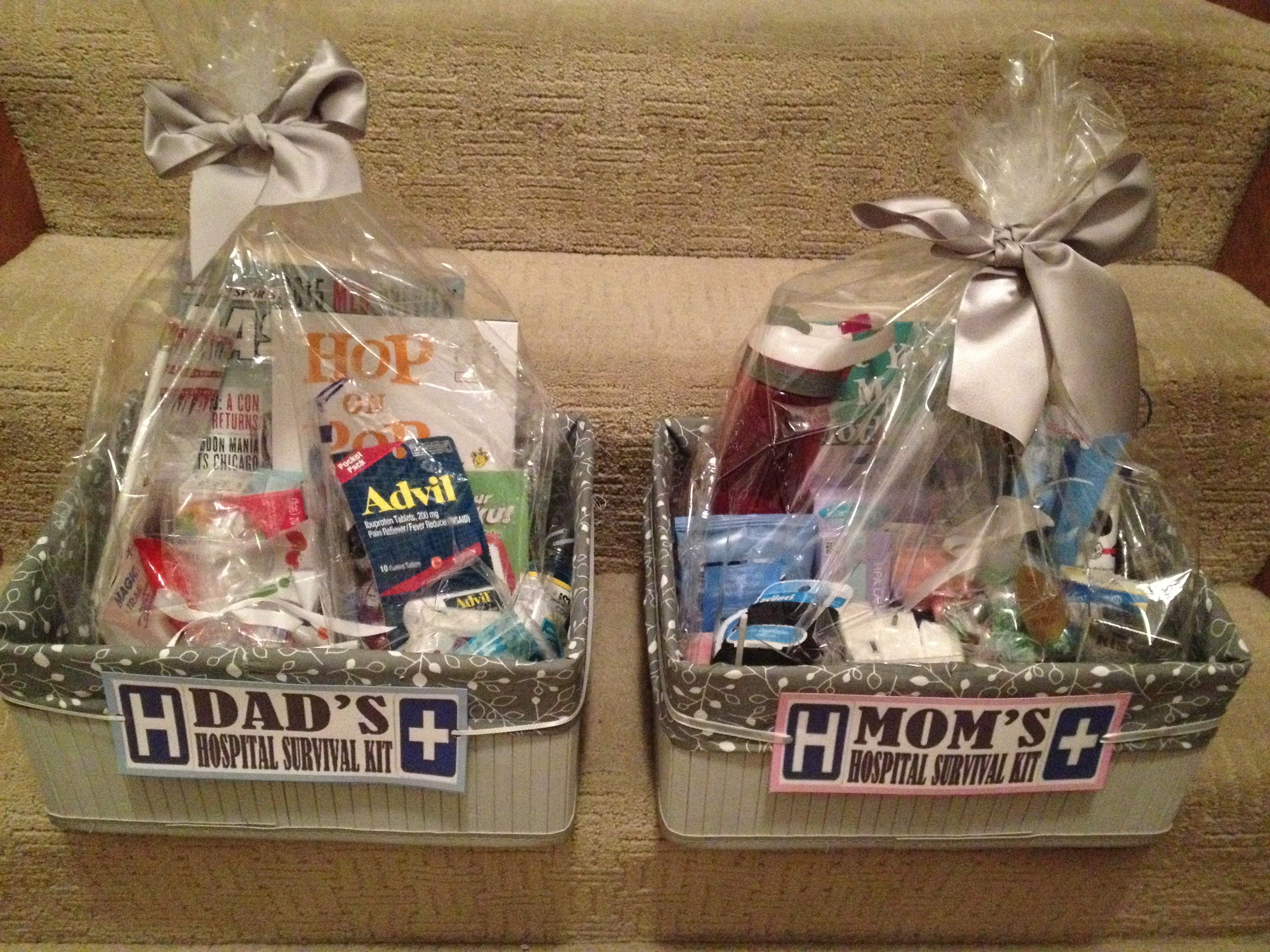 "Mom and Dad ""to be"" hospital survival kits... Diy baby"