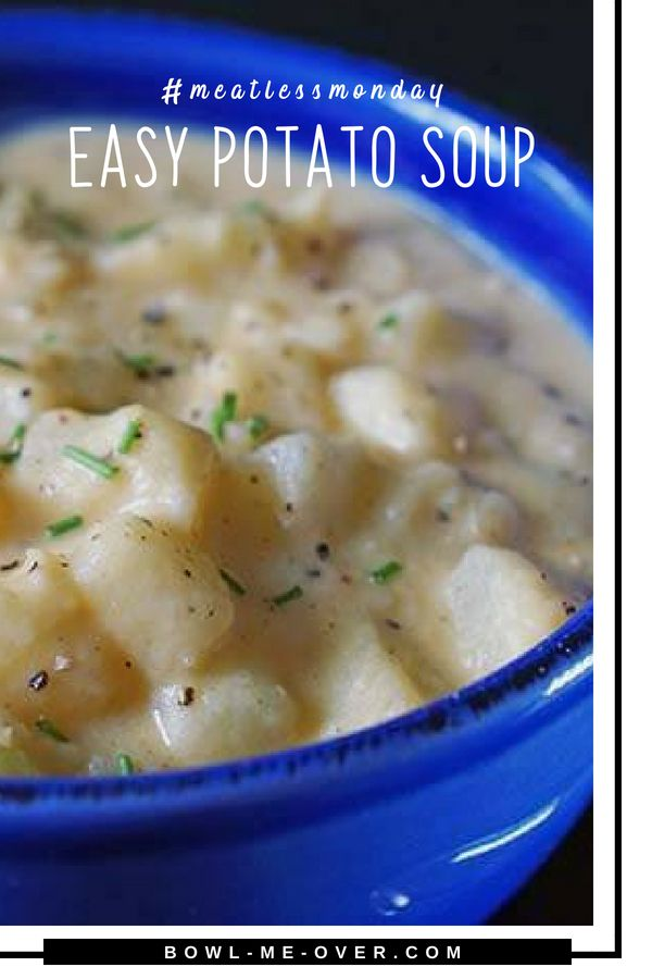 Easy Potato Soup made with simple ingredients for the most savory and delicious meal! This is a thick, creamy filling soup that is easy to make. This vegetarian potato soup is hearty and filling and simply scrumptious! #meatlessmonday #vegetarian #vegetarianpotatosoup #soupisgoodfood #bowlmeover #souperchefdeb #quickandeasy #potatosoup
