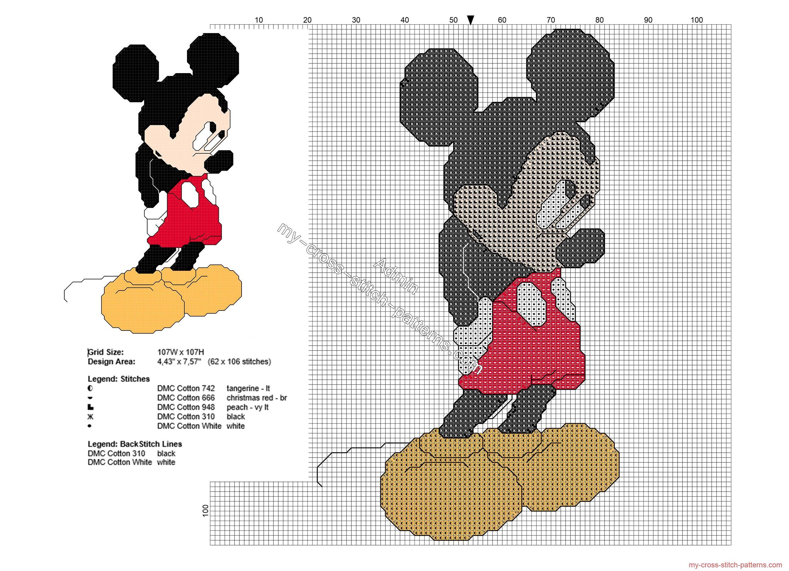 Shy Mickey Mouse free back stitch Disney cross stitch pattern ...