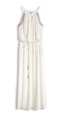 Esprit / Fließendes Maxi-Kleid mit farbiger Stickerei ...
