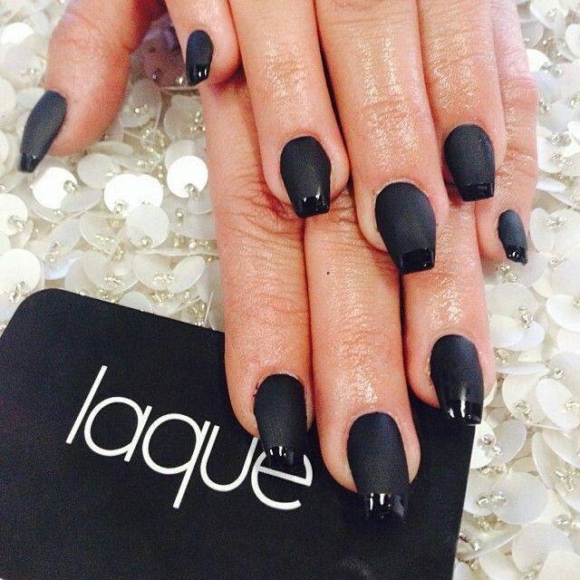 Laque Nail Bar: Black Matte With French Tip Gloss Nails By: Laqué Nail Bar