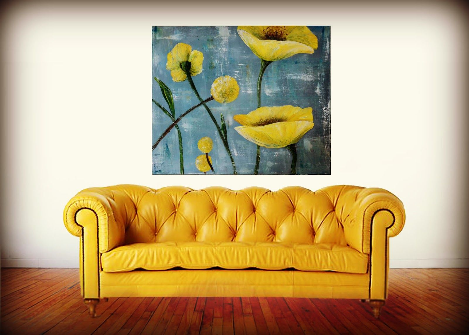 Palette Knife Painting Textured Yellow Poppies Bright