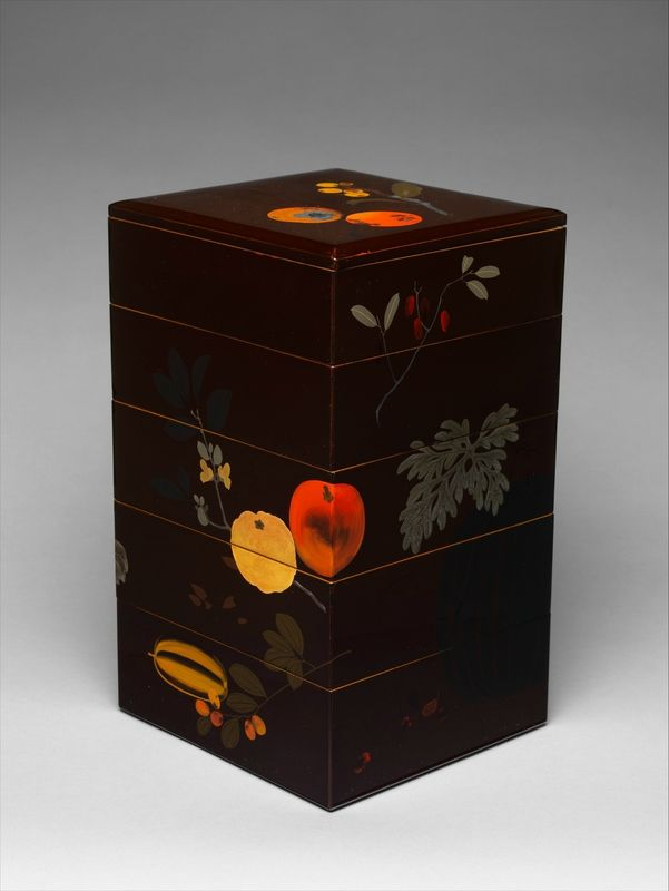 Shibata Zeshin (Japanese, 1807–1891), Tiered Food Box with Summer and Autumn Fruits, ca. 1868–90. Meiji period (1868–1912). Japan. Brown lacquer w. gold, silver, and colored lacquer maki-e. The Metropolitan Museum of Art, New York.  Designed for storage and serving sumptuous edibles at festive occasions, it has a design of summer and autumn fruits, The lacquer ground is a rich, very dark brown decorated with metal and colored lacquer