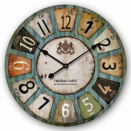 reloj de pared design chateau canet shabby vintage cm muy grande tinas collection amazon