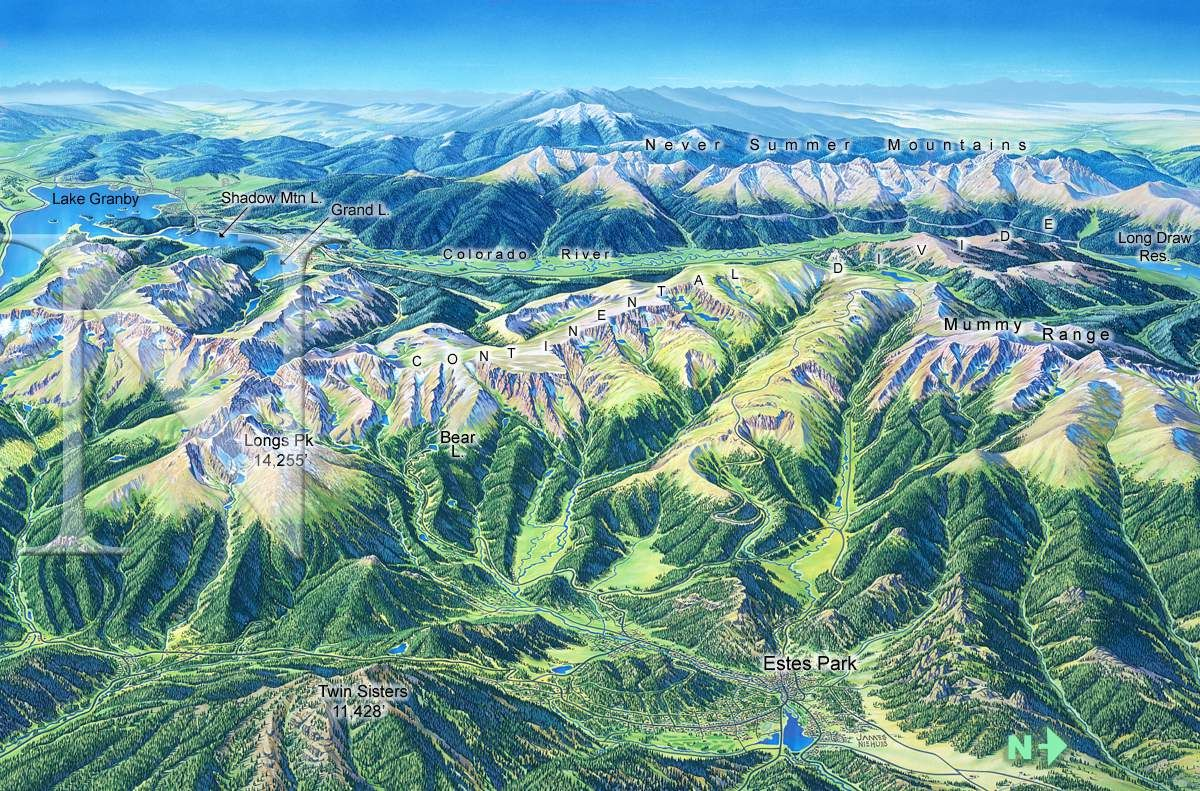 Rocky Mountain National Park James Niehues Map Artist Ski Maps Regional Maps National Parks National Parks Art Prints Rocky Mountain National Park