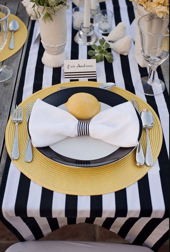 Navy Blue And White Striped Tablecloth Table Runner Cotton