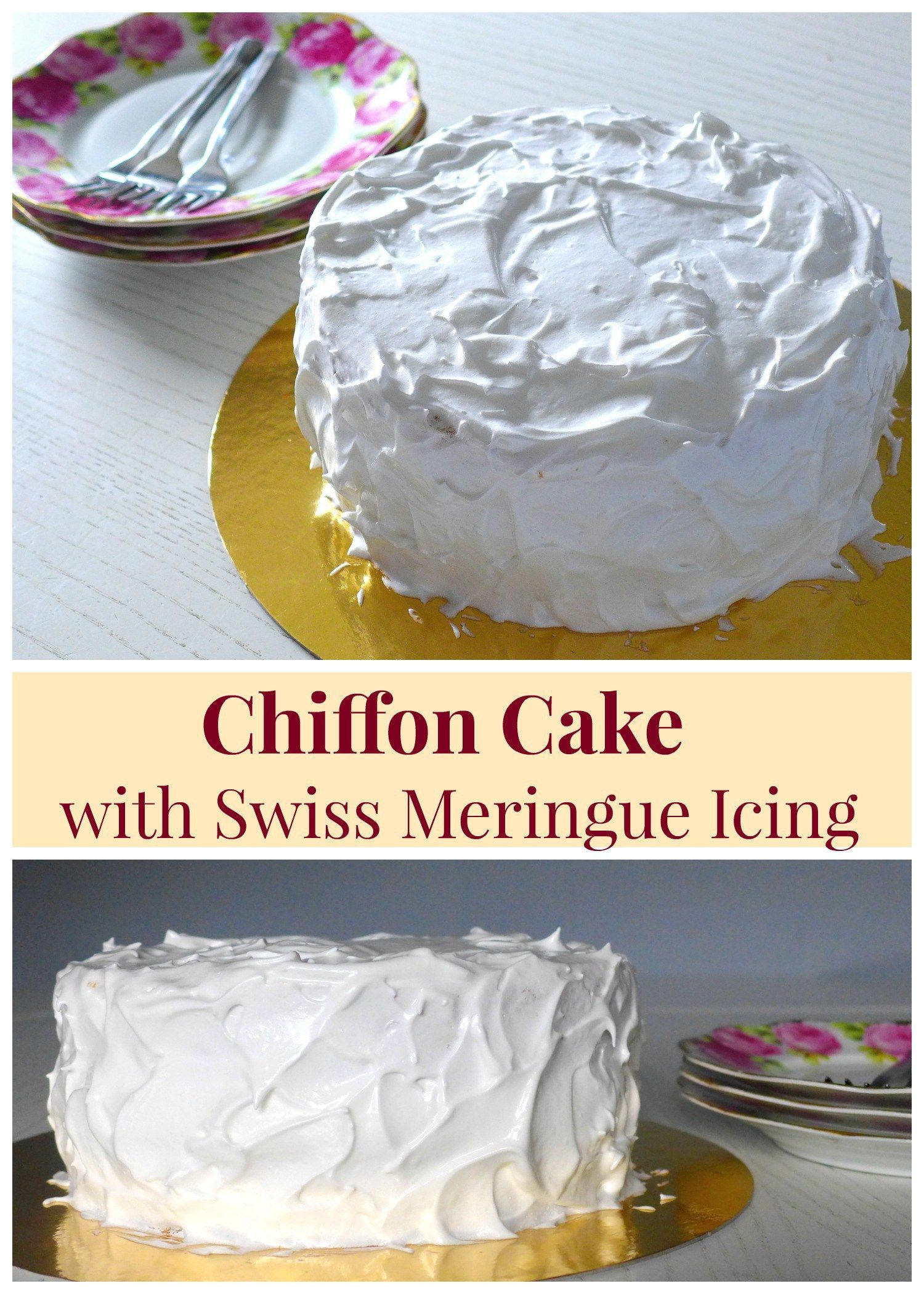 Sensational Chiffon Cake With Swiss Meringue Icing Recipe Chiffon Cake Personalised Birthday Cards Paralily Jamesorg
