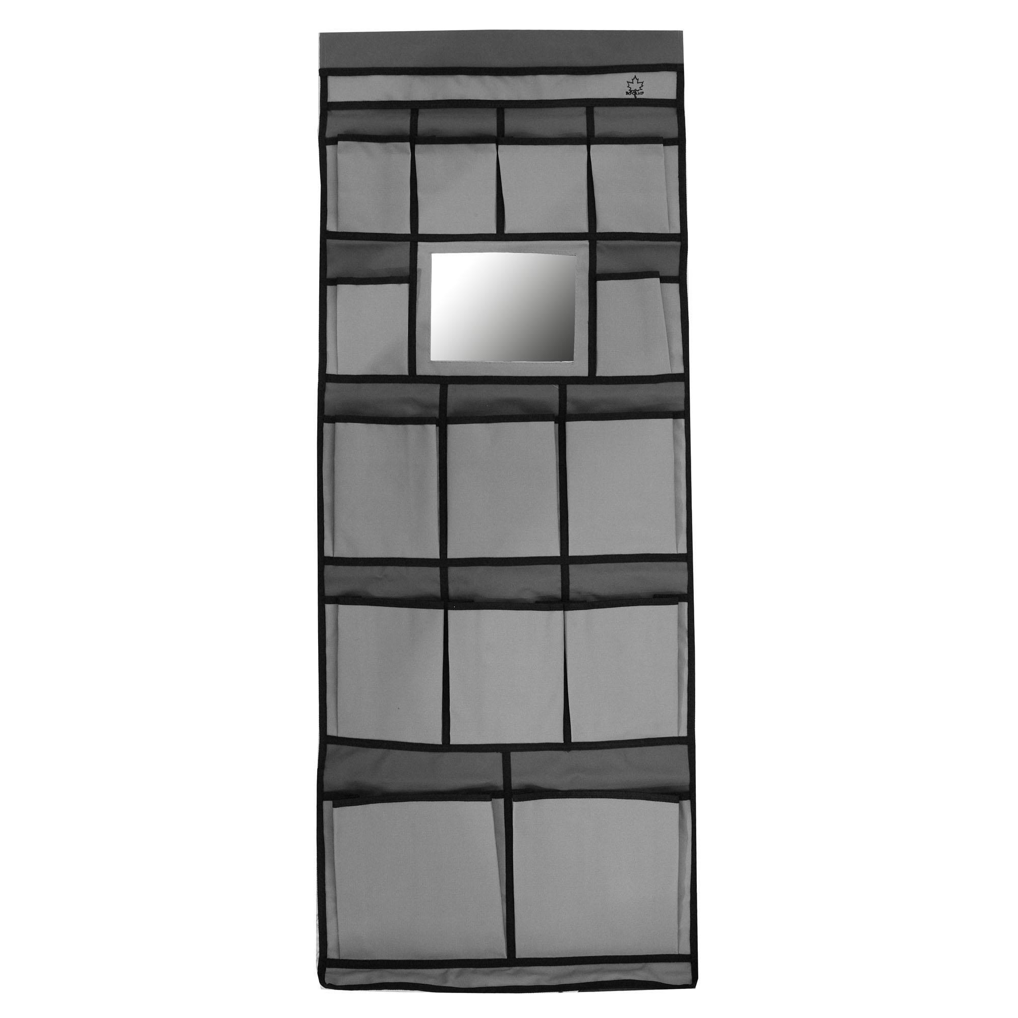 Ideaal voor extra opbergruimte. Deze tentschort is gemaakt van 600 denier nylon met veertien vakken, een spiegel, ophangogen en een pees voor bevestiging aan uw caravanrails en klittenband voor bevesting om uw nokstok. Afmeting: breedte 48cm en hoogte 123cm. Kleur: grijs