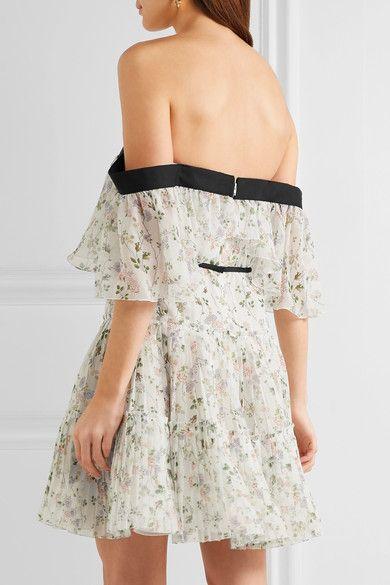 strapless ivory chiffon mini dress