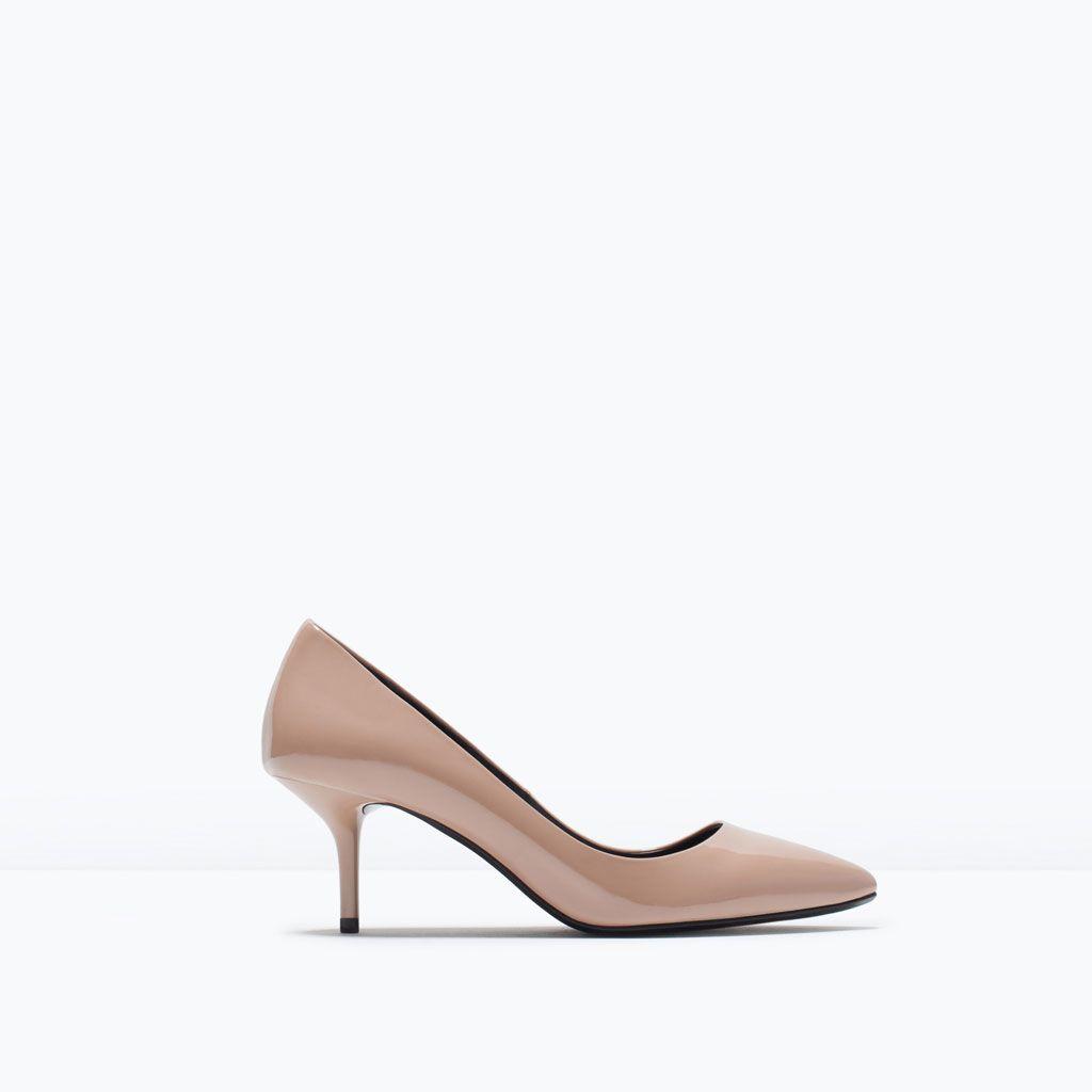 b4f42970 SALÓN TACÓN MEDIO CHAROL-Ver todo-Zapatos-MUJER | ZARA España nude ...