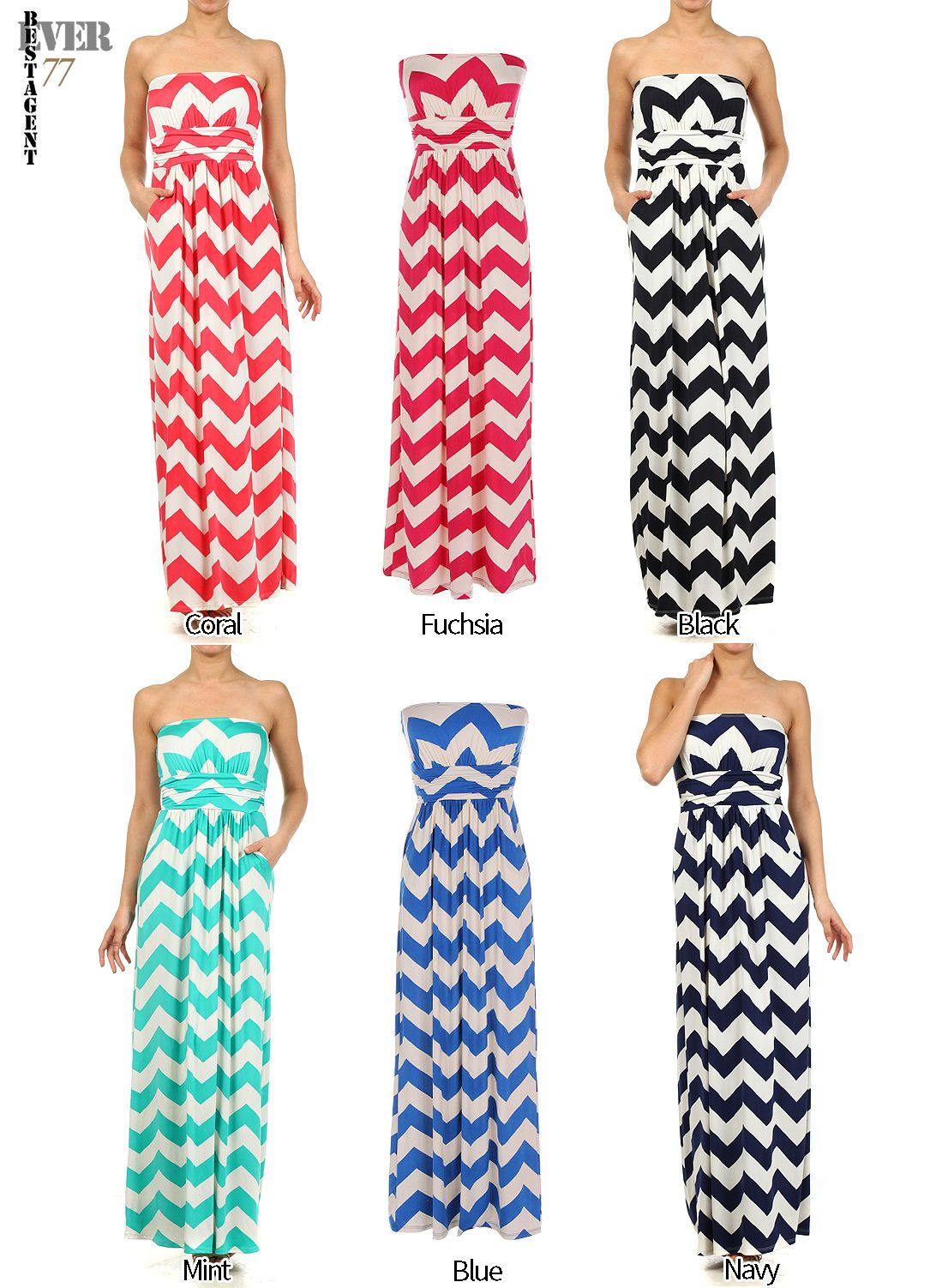 Ever new strapless chevron long maxi dress with pocketmade in usa