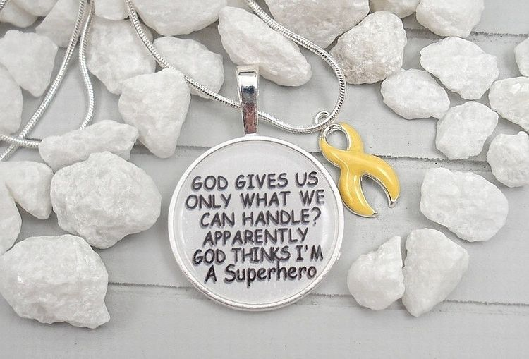 Christian Religious Quotes / God Thinks Im A Superhero / YELLOW - GOLD Ribbon Charm / Childhood Cancer Survivor Awareness Jewelry #P8