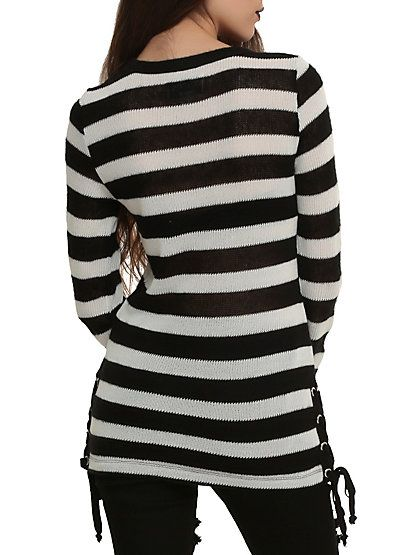 Royal Bones By Tripp Black & White Striped Tunic Sweater | Tunic ...
