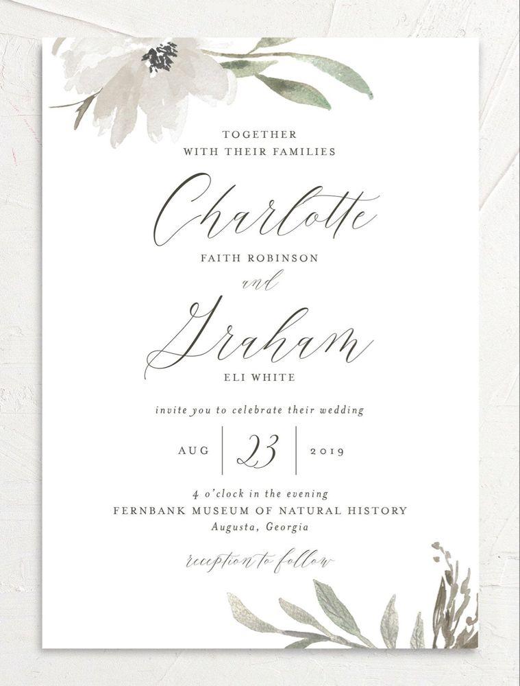 Muted Floral Wedding Invitations | elli | Floral wedding ...