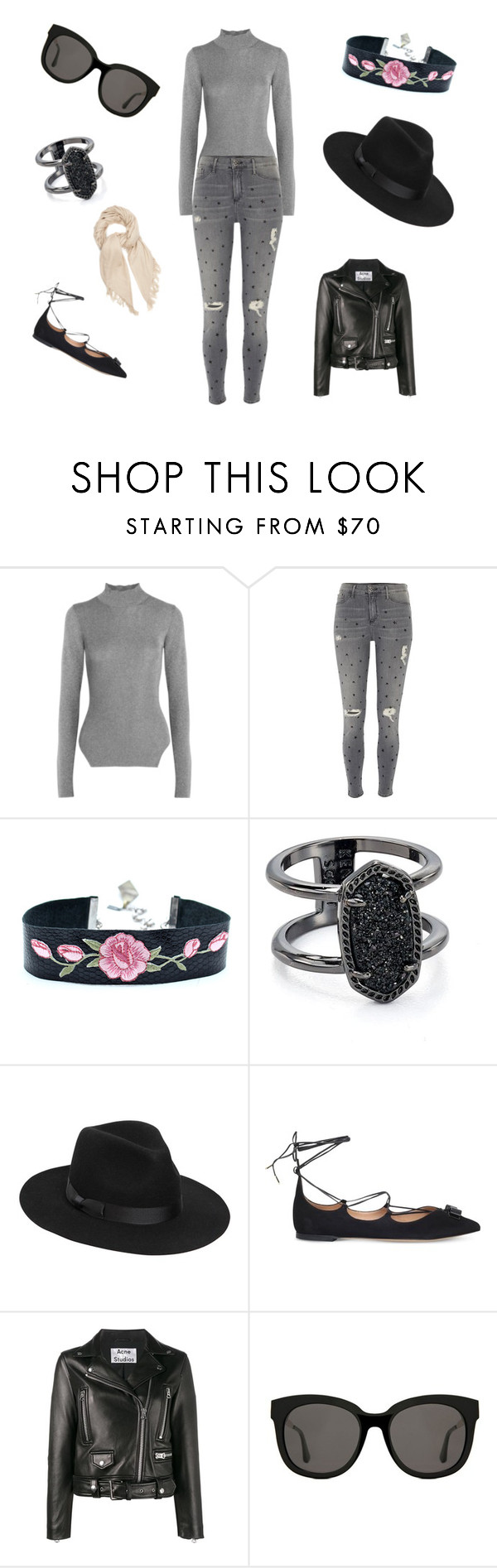 """""""Untitled #103"""" by remedypotter ❤ liked on Polyvore featuring Thierry Mugler, River Island, Kendra Scott, Lack of Color, Salvatore Ferragamo, Acne Studios, Gentle Monster and Isabel Marant"""