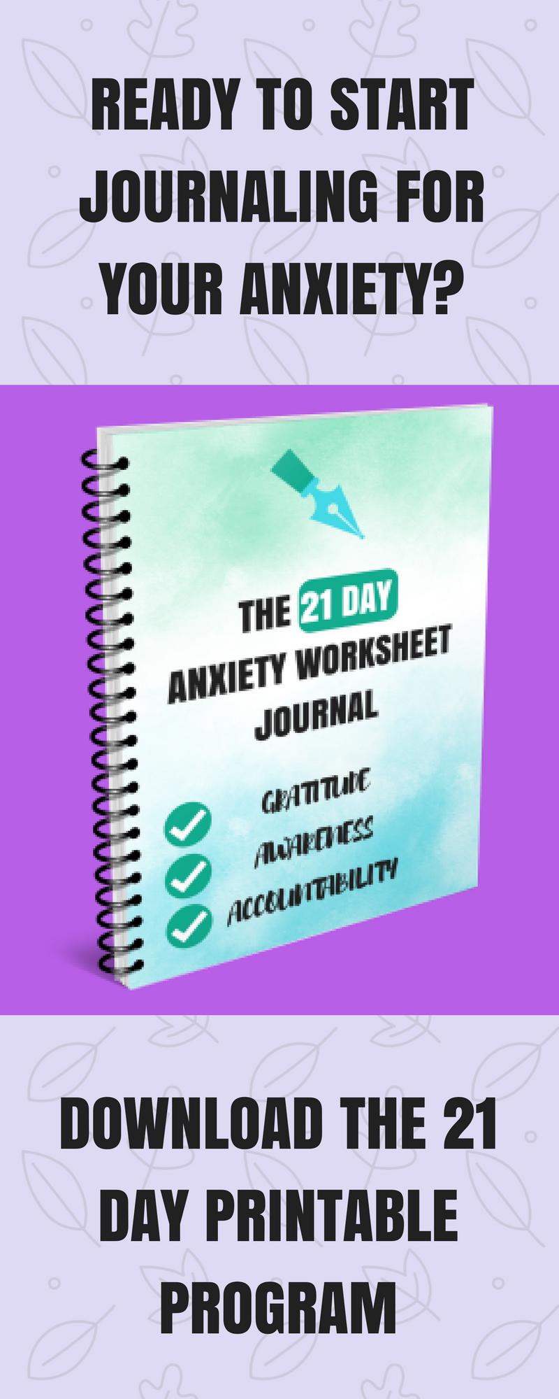 Printable Anxiety Worksheet Journal PDF   Anxiety & Depression ...