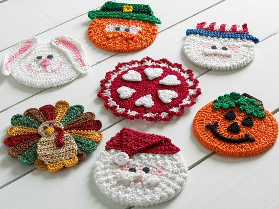Holiday CD Coasters Crochet Pattern PDF | Ganchillo patrones, Tejido ...
