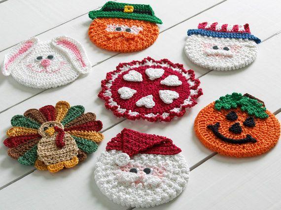 Holiday CD Coasters Crochet Pattern PDF | Weihnachten häkeln ...