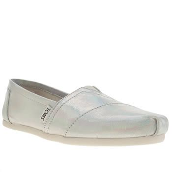 the latest 37eee 04d5d Womens Silver Toms Classic Shine Metallic Flats | schuh ...