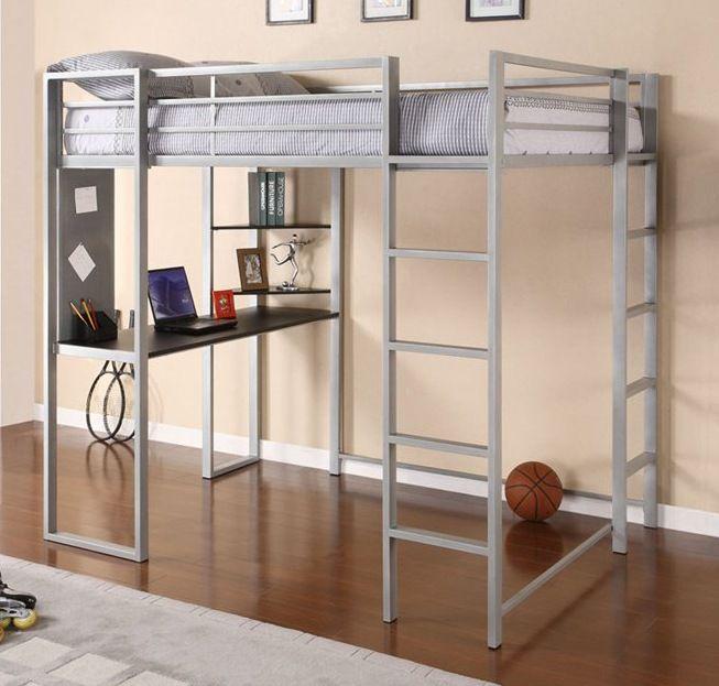 Abode Full Metal Loft Bed Over Workstation Desk