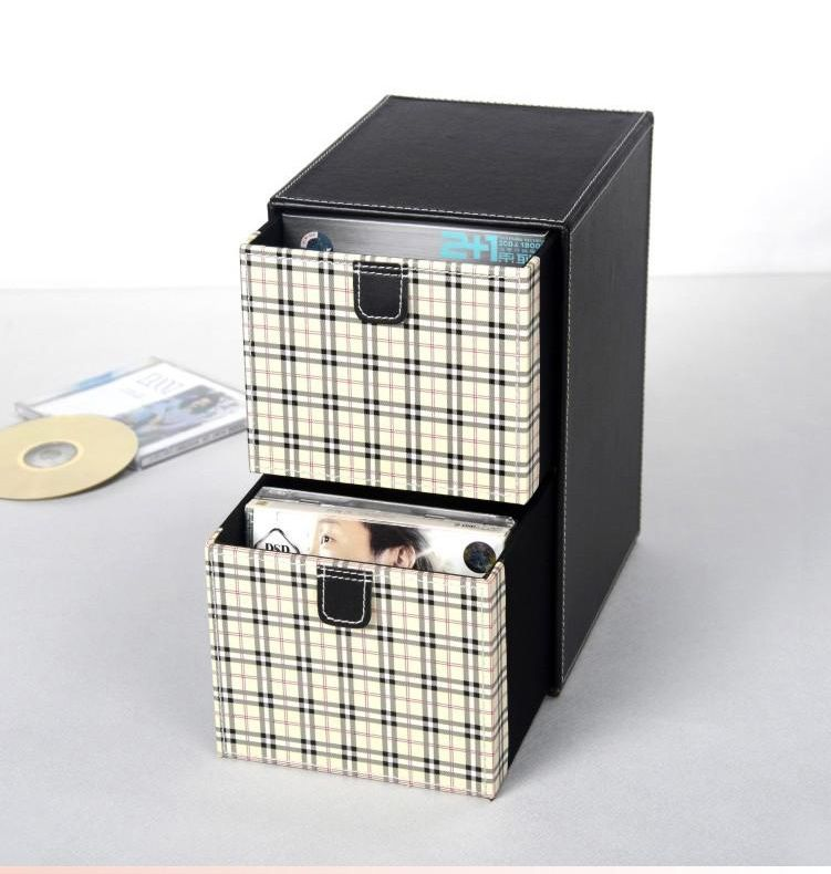 Decorative Dvd Storage Boxes Home 2Layer 2Drawer Leather Desk Cddvd Sundries Container