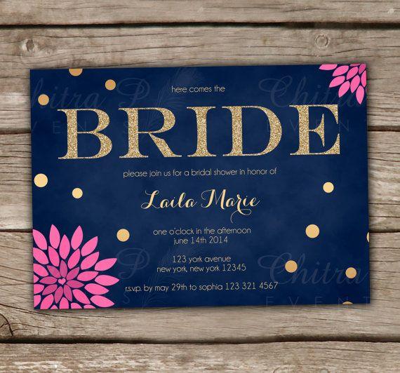 Baby Blue Wedding Invitations: Navy Pink Bridal Shower Invitations