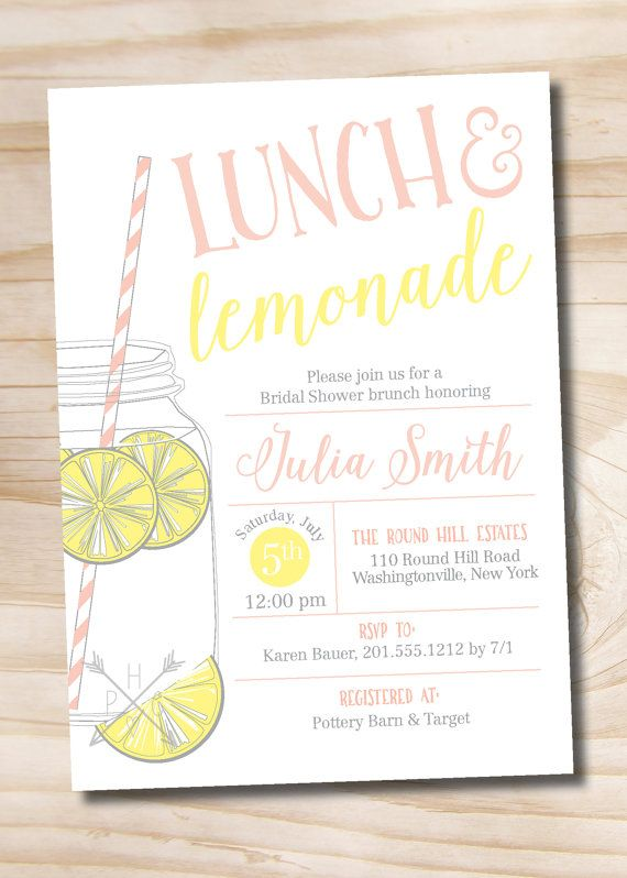 b0d483aaee15 Lunch and Lemonade Mason Jar Bridal Shower Invitation