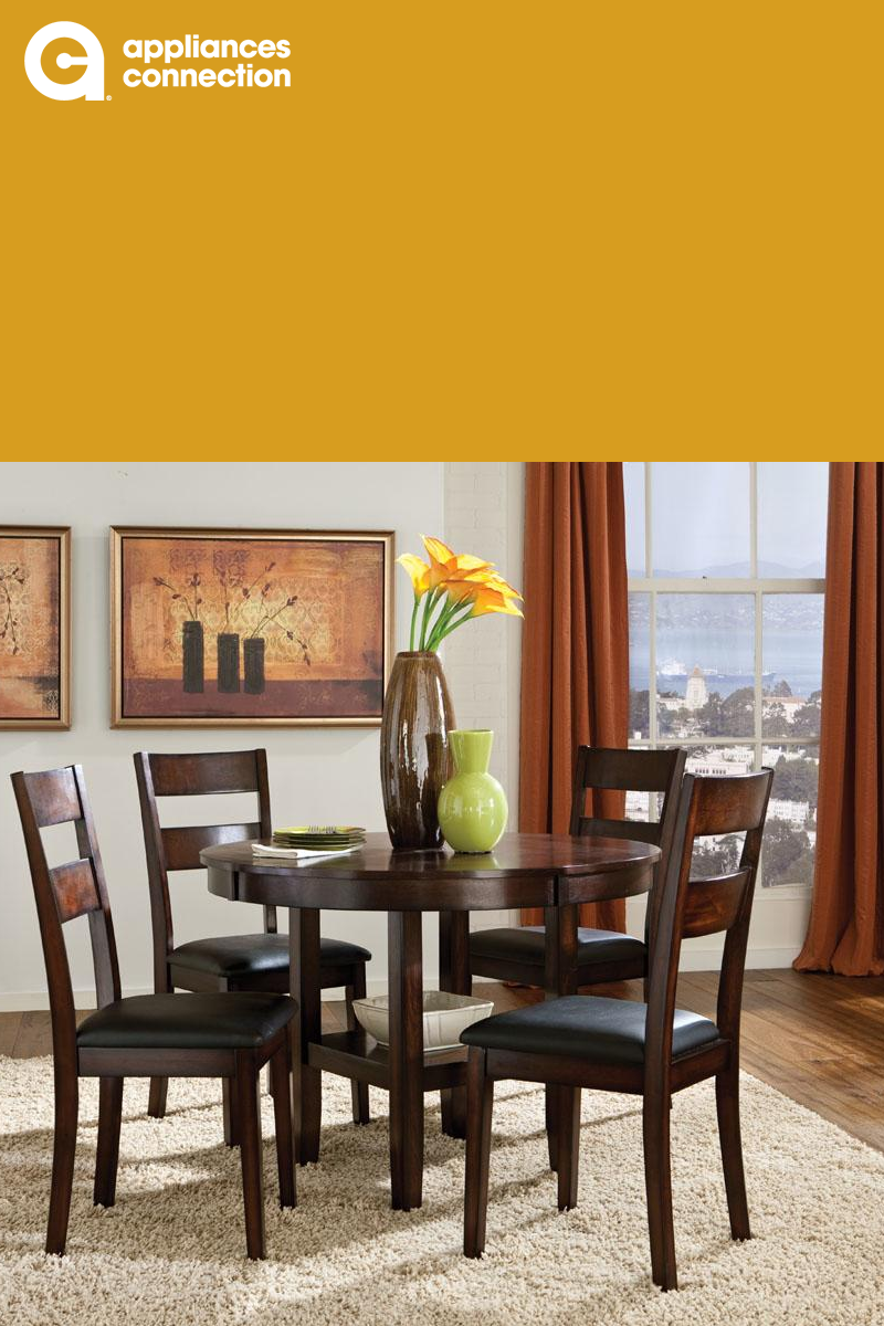 59905b385451 Standard Furniture brings you the Pendwood dining room set. This set  consists of one round table and four chairs with square legs. These items  are made from ...
