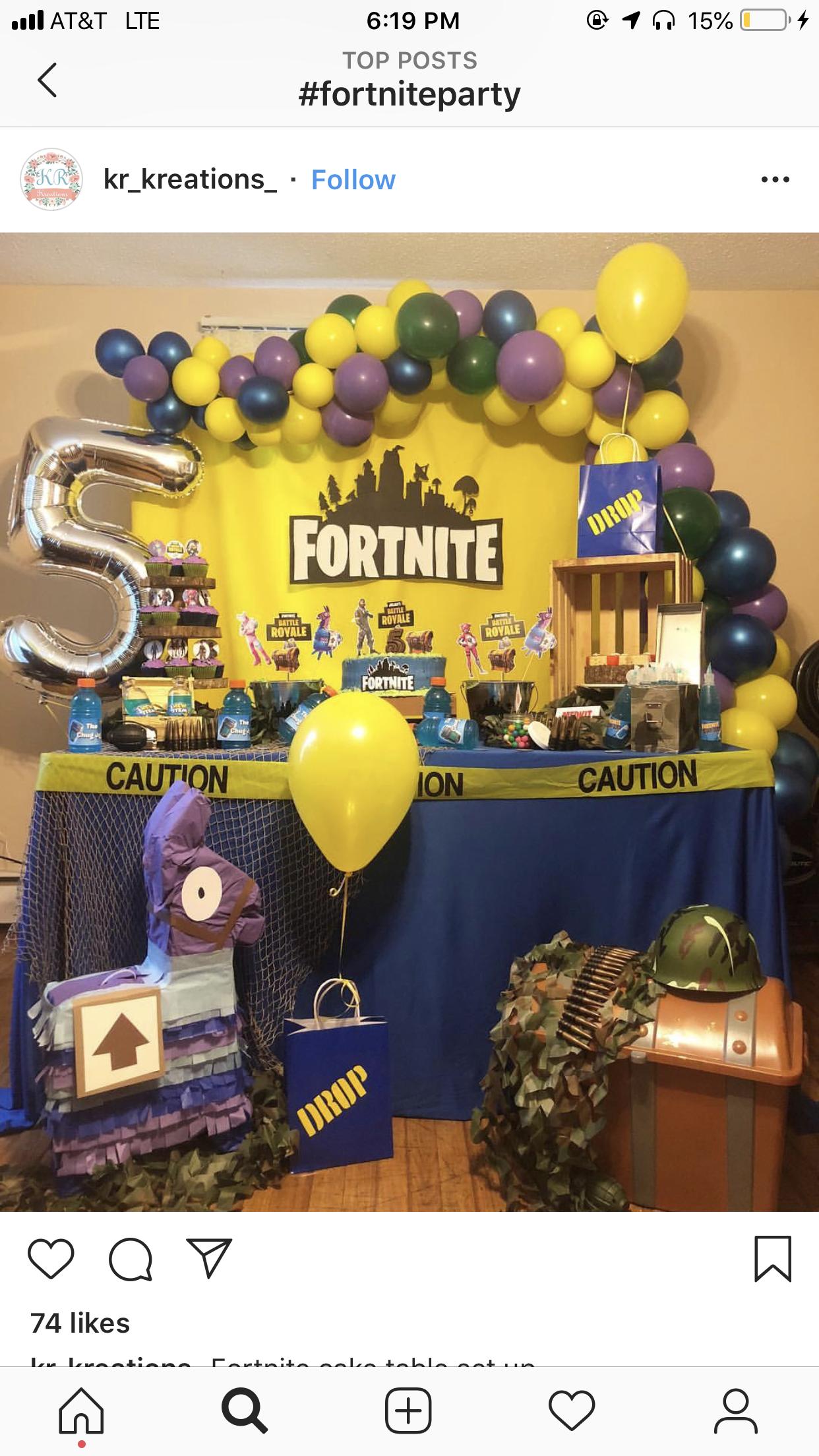 Fortnite birthday party ideas photo 1 of 18 catch my - Ideas para decorar cumpleanos de adultos ...
