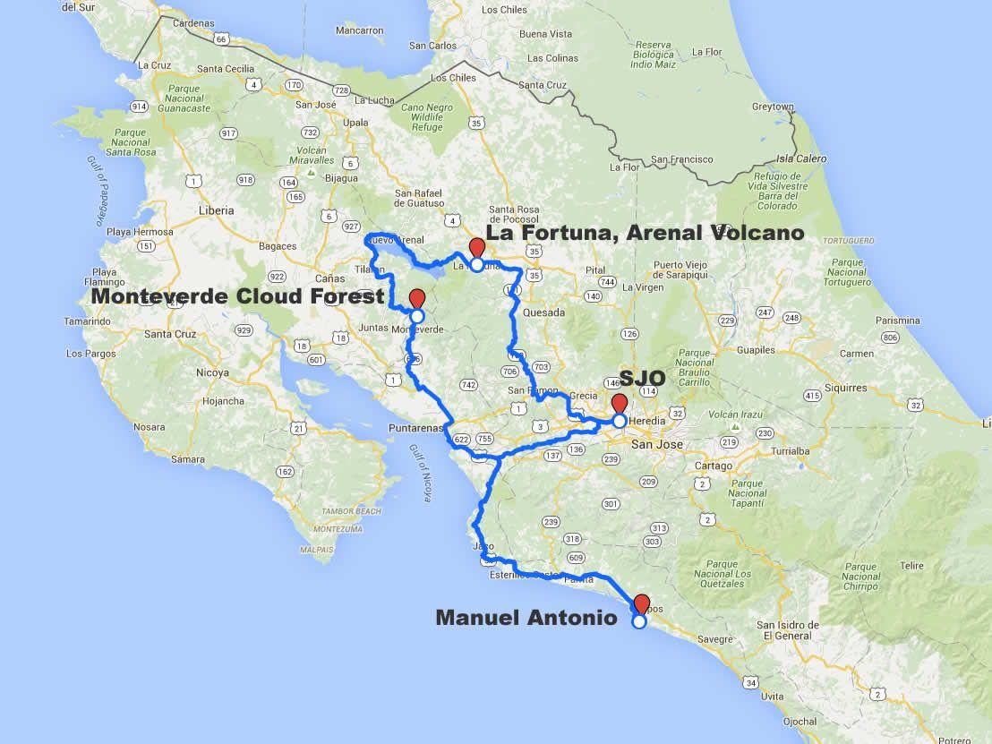 Arenal Monteverde Manuel Antonio Driving Route Map