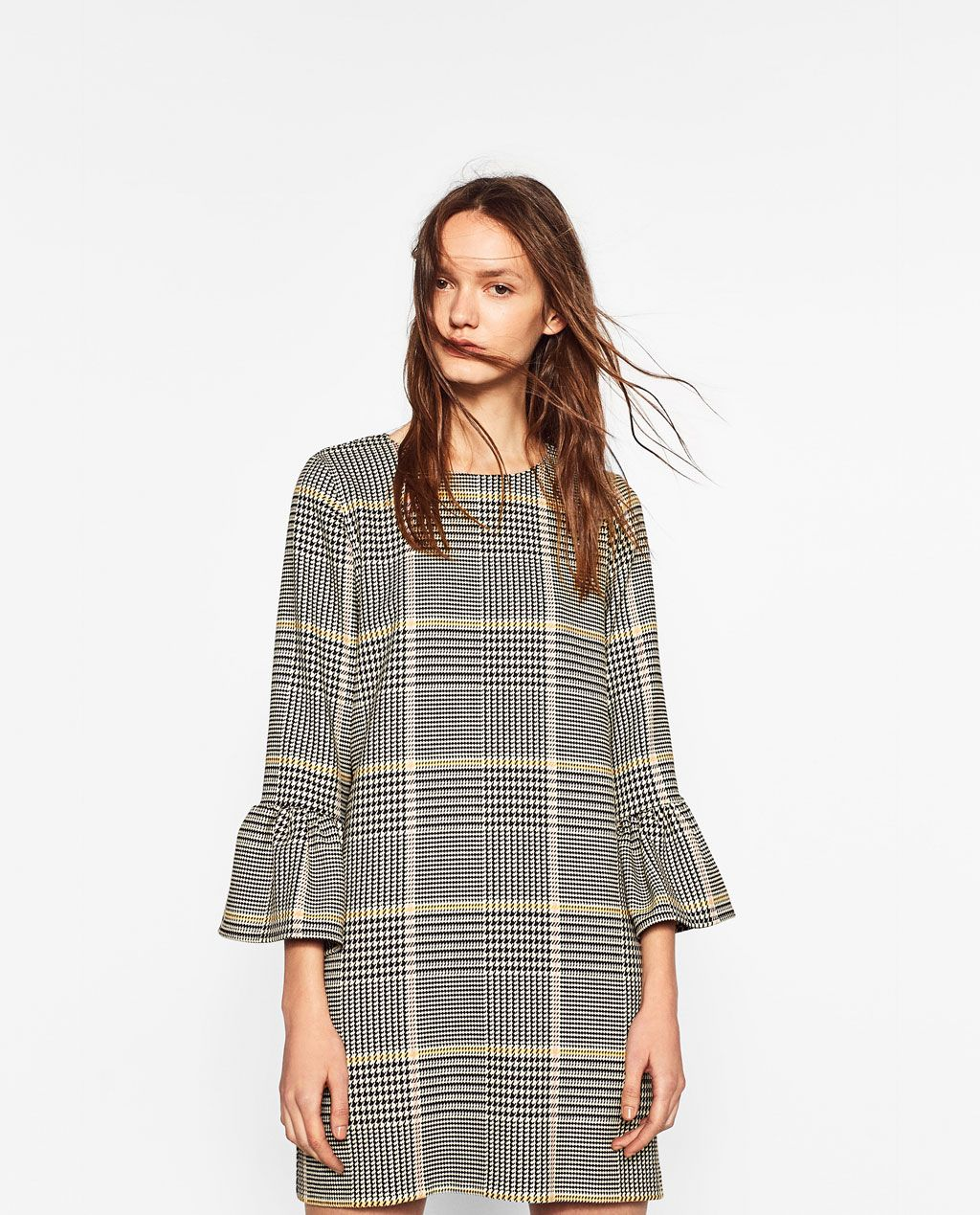 Image 1 of CHECKED DRESS WITH FRILL from Zara