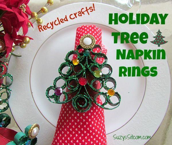 Holiday Tree Napkin Rings Easy Diy Dollar Store Christmas Christmas Tree Napkins Holiday