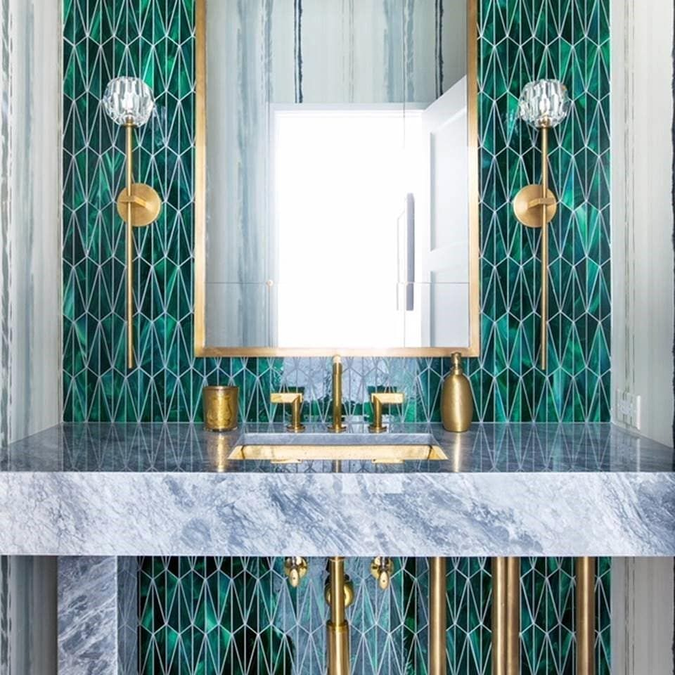 This vanity feature wall makes a striking statement with Malachite ...