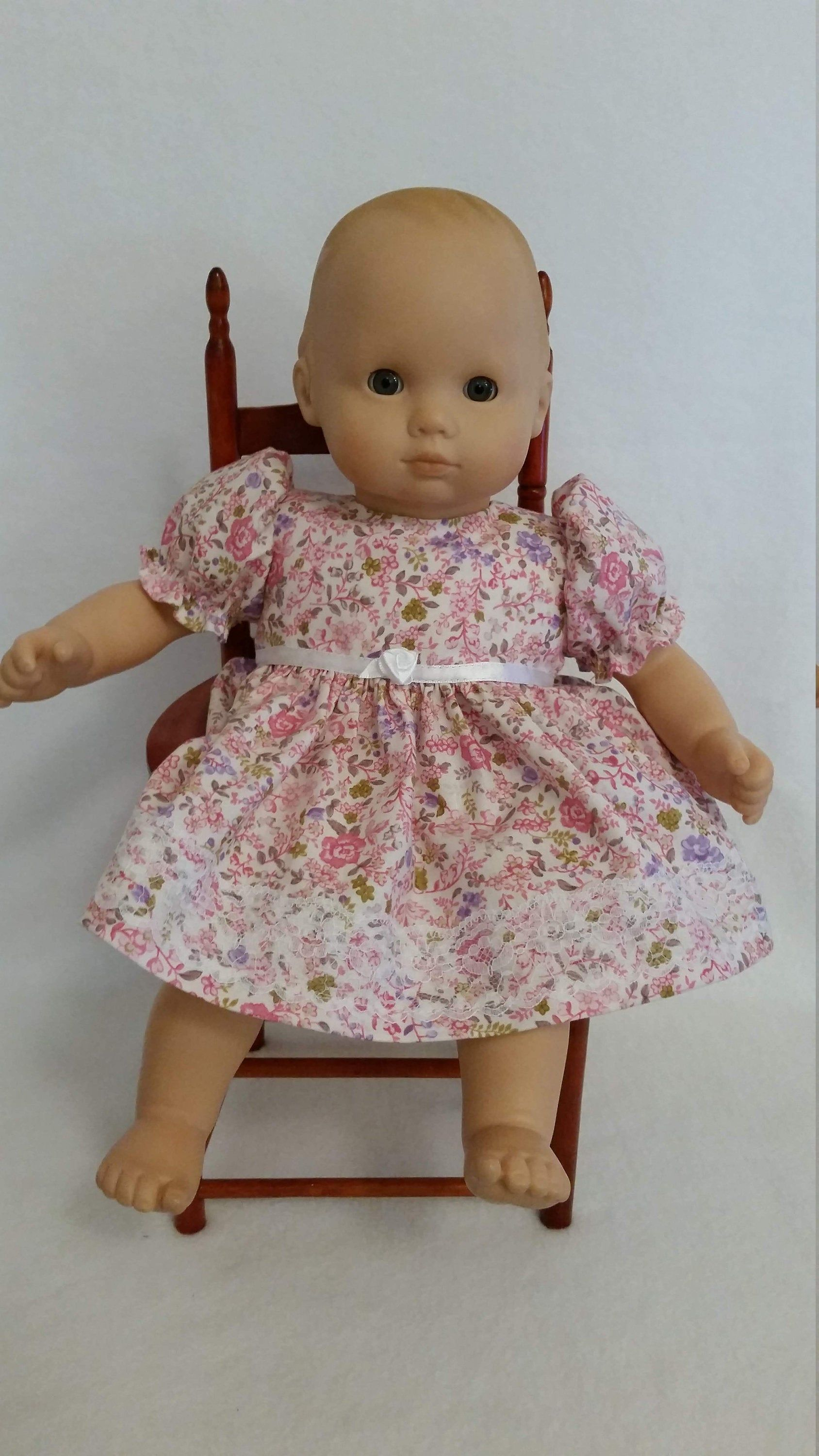 15 Baby Doll Dress Pink Floral With Lace Fits Bitty Baby Berenguer Reborn Silicone Handmade Baby Bitty Baby Clothes Baby Clothes Patterns Baby Doll Clothes