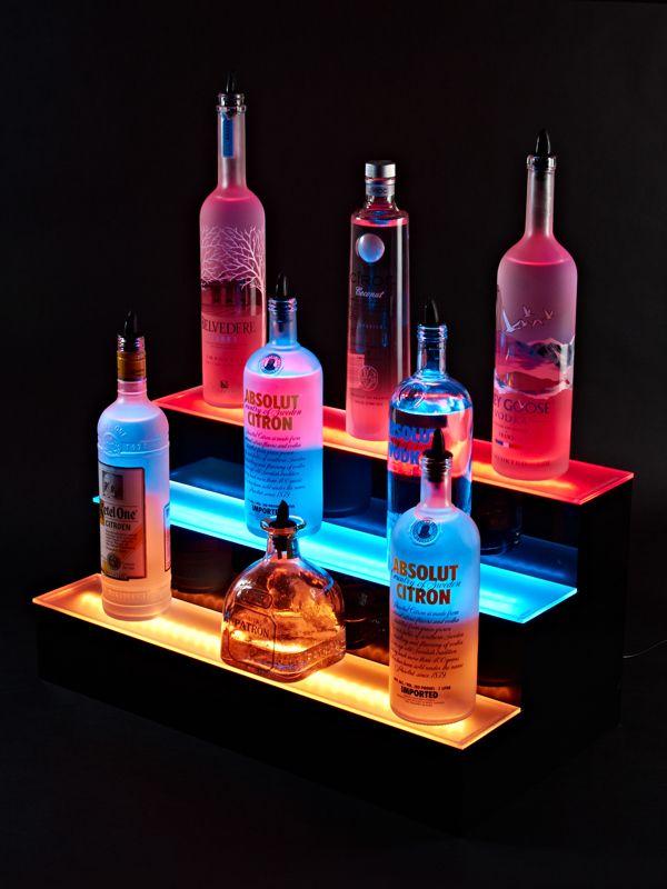 Double Wide LED Lighted Liquor Bottle Display Rail 7 Ft Long Commercial Bar