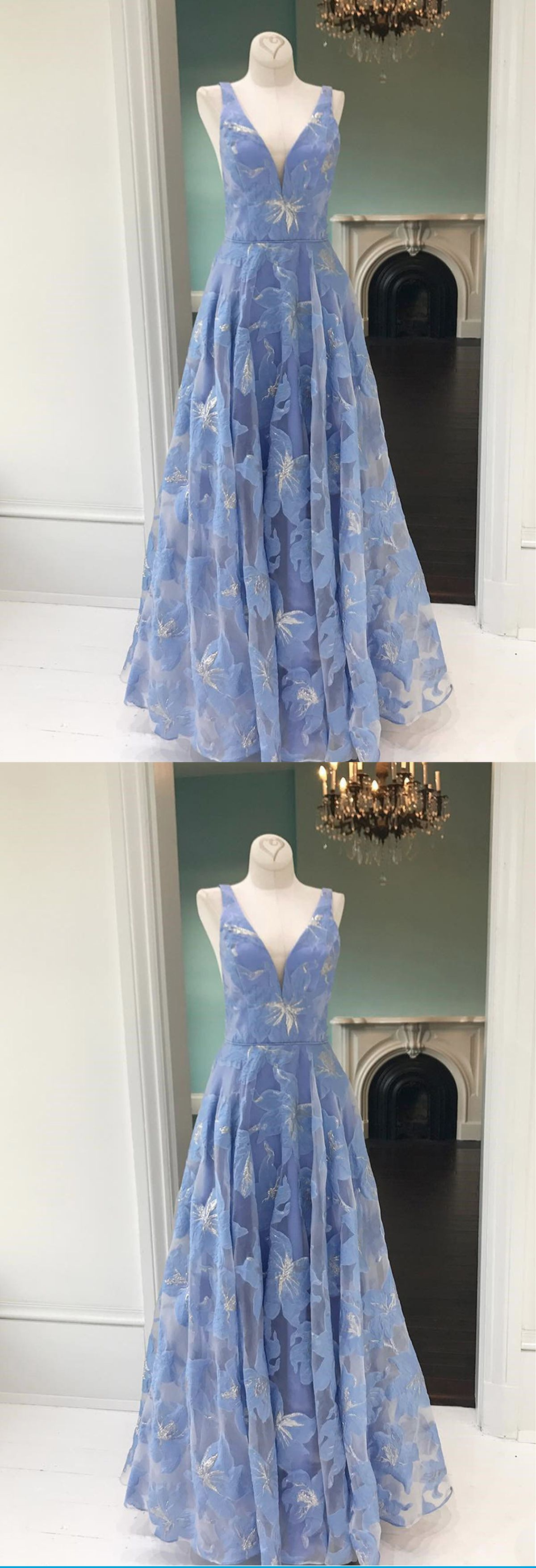 Simple blue floral lace v neck long halter customize prom dress