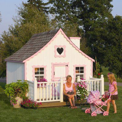 Little Cottage 8 x 8 Gingerbread Wood Playhouse - 8X8GINGERBREAD W/FLOORKIT/LOFT/DECK/RAIL, Durable