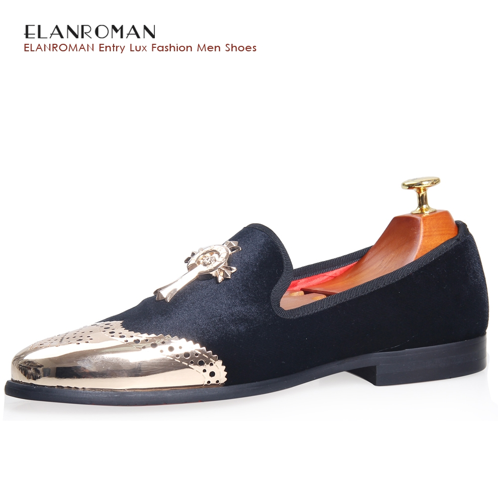 57.60$  Buy here - http://aitcy.worlditems.win/all/product.php?id=32794426802 - ELANROMAN New Men loafer Shoes Vintage Men Velvet Loafers Golden Metal Cross Buckle Party Casual men shoes wedding shoes