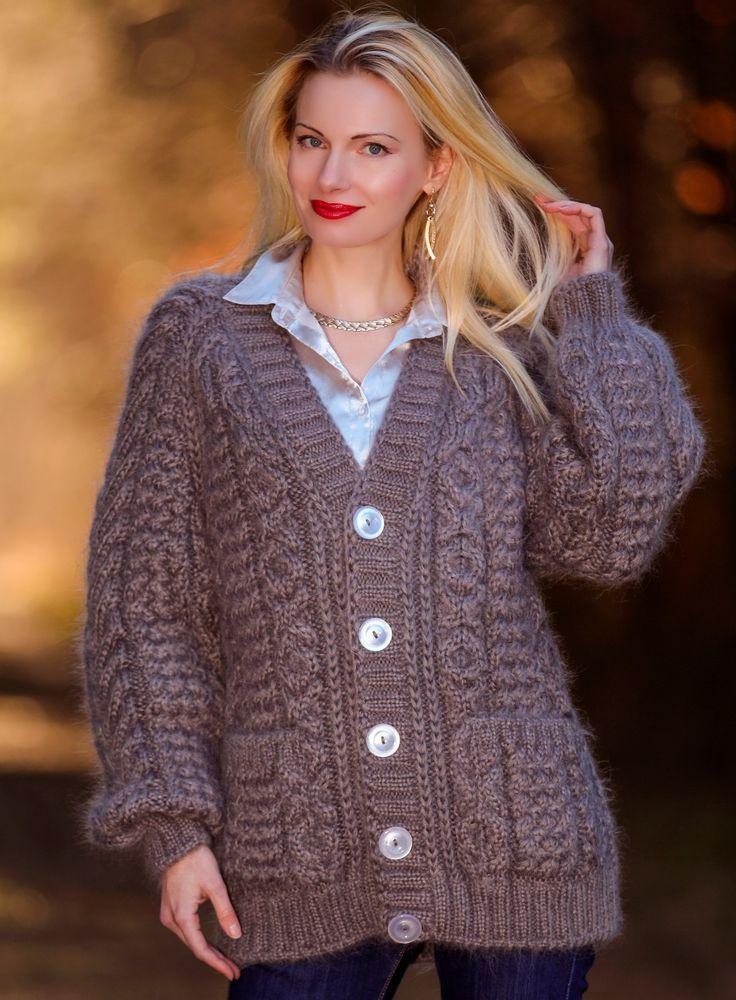 NEW Hand Knit Mohair Coat GRAY Sweater Cardigan Fuzzy V neck Jacket SUPERTANYA #SUPERTANYA #BasicCoat